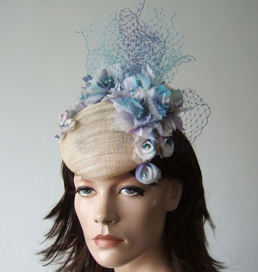 "Lilac, Purple, Teal, Blue Silk Flowers Floral Headpiece Fascinator Ascot  Hat ""Tosca"" Mother of The Bride Garden Party. Spring Racing Fashion"